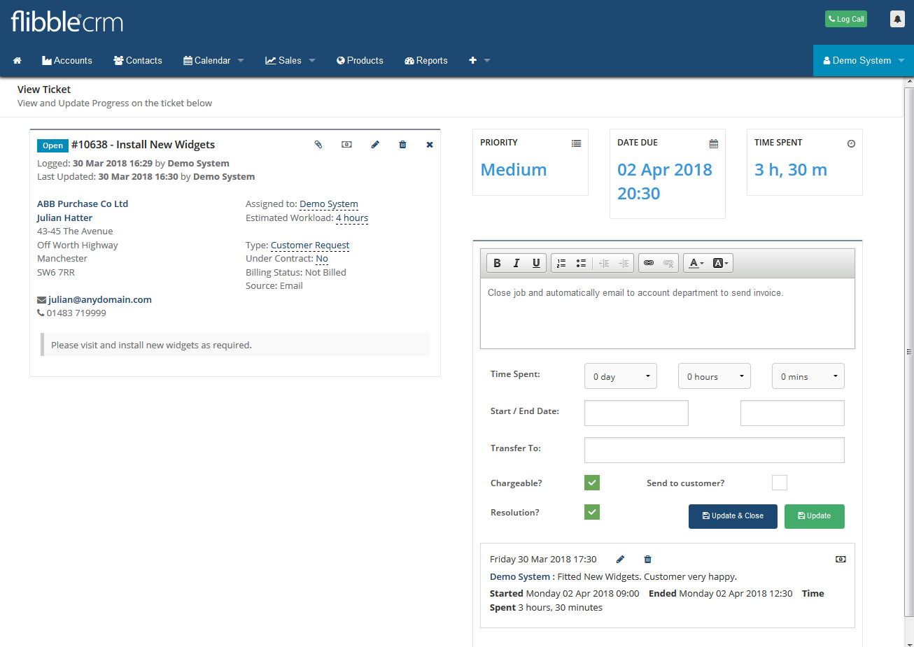Helpdesk Update Ticket CRM