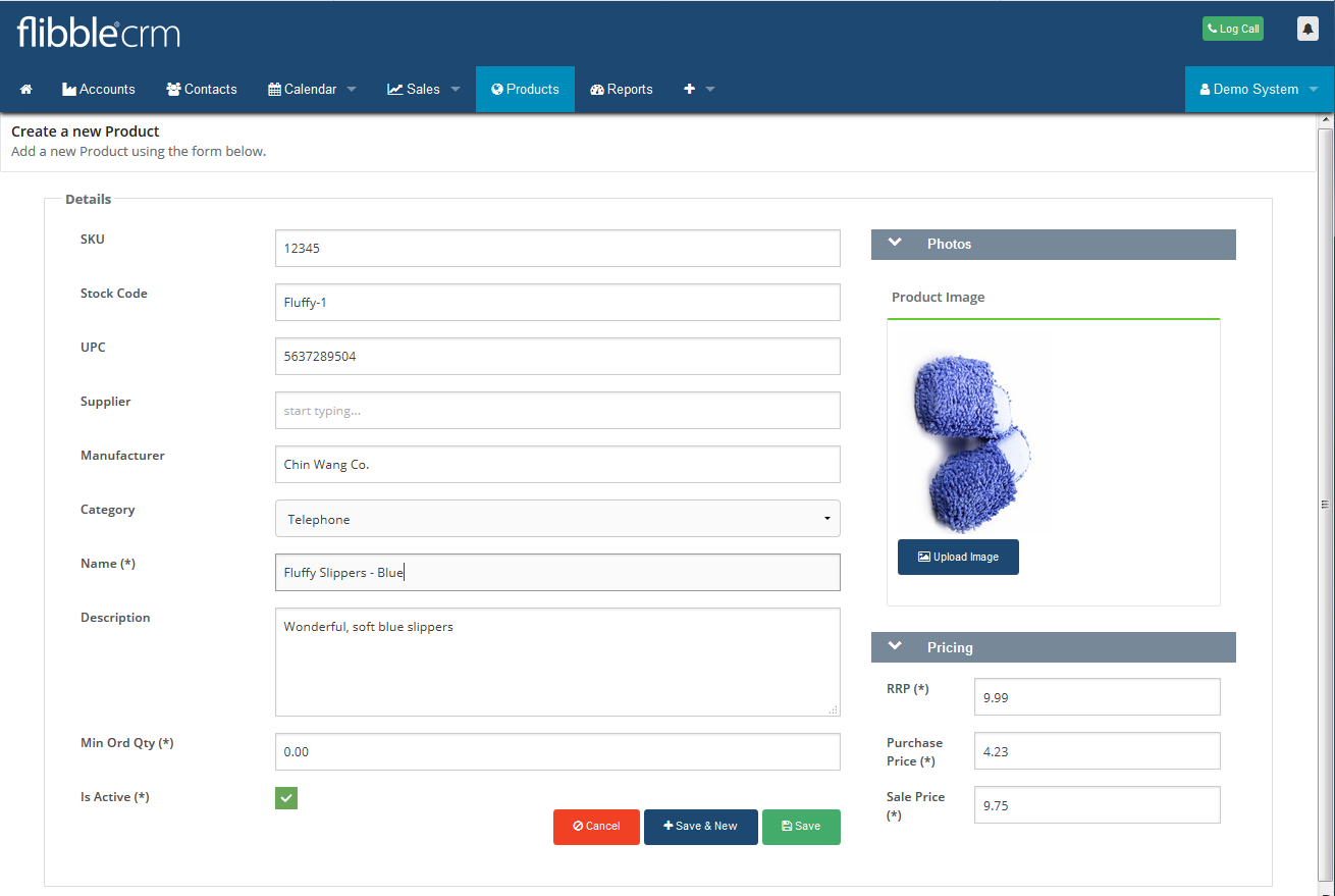 Product Create New CRM